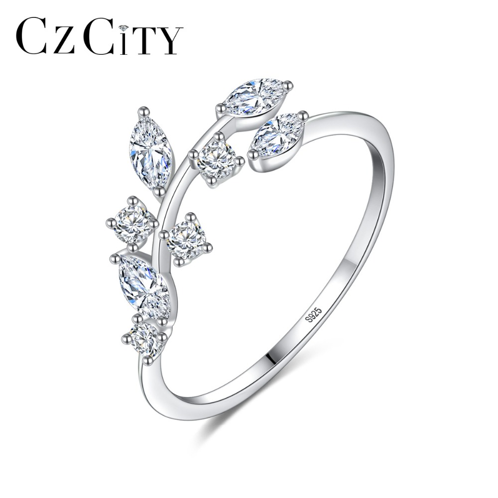 CZCITY Korean 925 Sterling Silver Handmade Olive Leaf Rings For Women Exquisite CZ Stone Adjustable Open Ring Silver 925 Jewelry