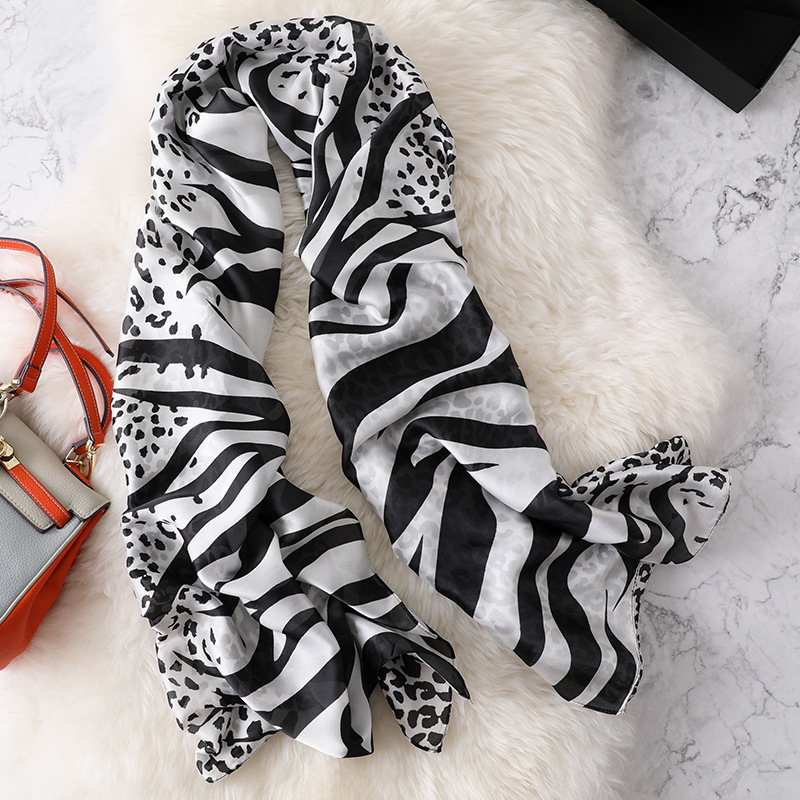 Silk Scarf Long Women Leopard print Hijab Fashion 2019 Lady Beach Scarfs Smooth Female Pashmina Shawls and Wraps in Women 39 s Scarves from Apparel Accessories