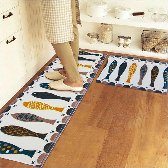 Modern Kitchen Mat 2 psc /set coral fleece carpet modern kitchen mat bathroom toilet