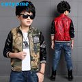 2017 Toddler Children Motorcycle Jackets Fashion Camoufalge Baby Boys PU Leather Bomber Jackets Coat Teens Kids Outerwear Suits