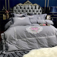 New 100 Egyptian Cotton Luxury Embroidery Bouquet Bedding Sets Bed Sheet Queen King size 4pcs Duvet