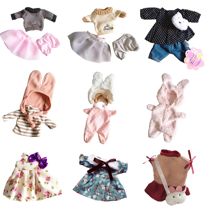 30cm Doll Clothes for Rabbit Cat Bear Plush Toys Soft Dress Skirt Sweater Play House Dolls Accessories for 1/6 BJD Doll Gifts