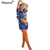 aaca0f9456b8 2019 Women Summer Tie Dyed Printed Sexy Bodycon Mini Dress Loose Tee Party  Dress Short Sleeve