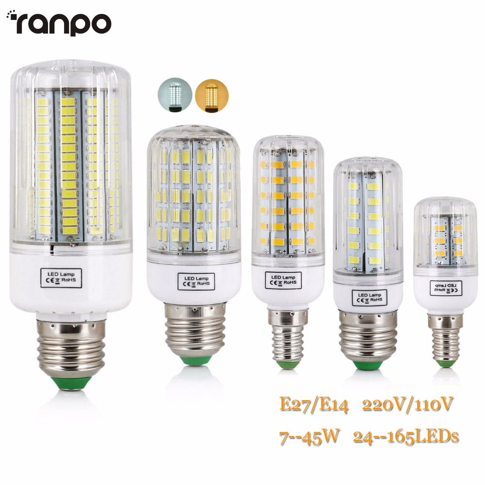 E27 LED Lamp 5730 SMD Bulb E14 220V Corn 24 30 42 64 80 89 108 136 Leds Lamp Bombillas Light Bulbs B22 Lampada Ampoule Lighting