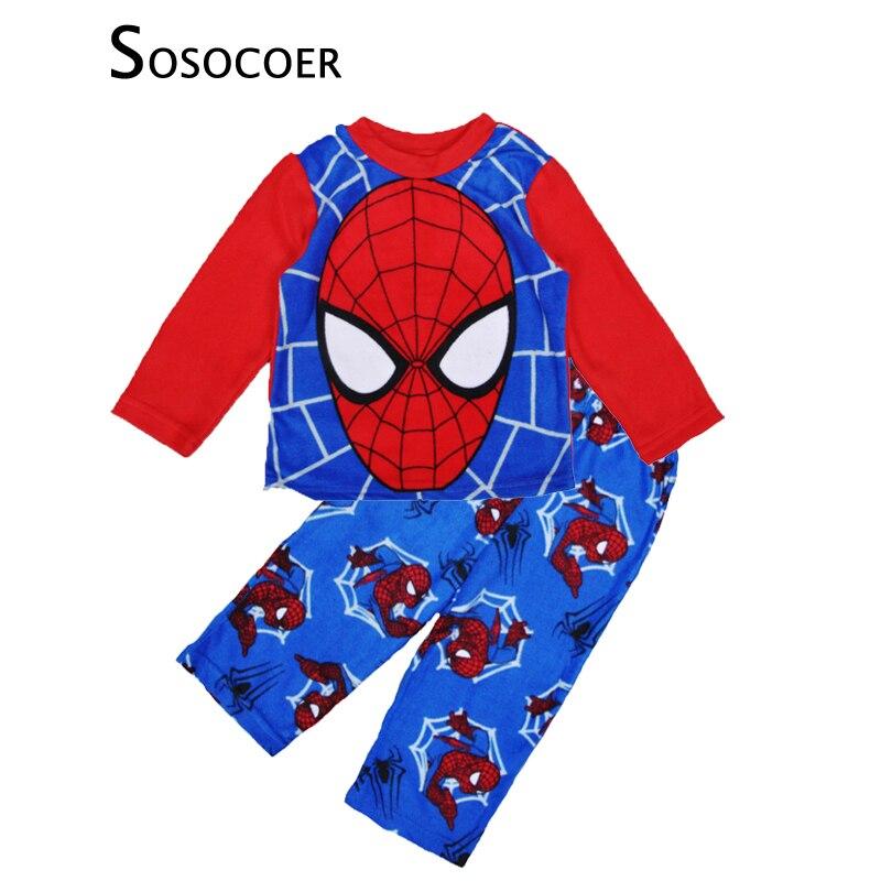 sosocoer spiderman pyjamas kids clothing sets cartoon spider man