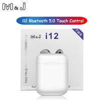M&J i12 tws Touch control Wireless Bluetooth 5.0 Earphones 3D super bass Headphones pk i10 tws i20 tws i30 i60 TWS for xiaomi