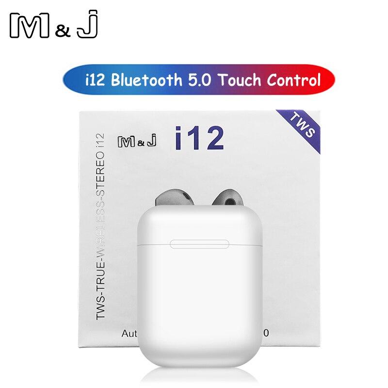 M & J i12 tws Touch control inalámbrico Bluetooth 5,0 auriculares 3D super bass auriculares pk i10 tws i20 tws i30 i60 TWS para xiaomi