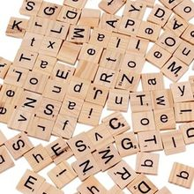 100 Wooden Alphabet Scrabble Tiles Black Letters Numbers For Crafts Wood DIP