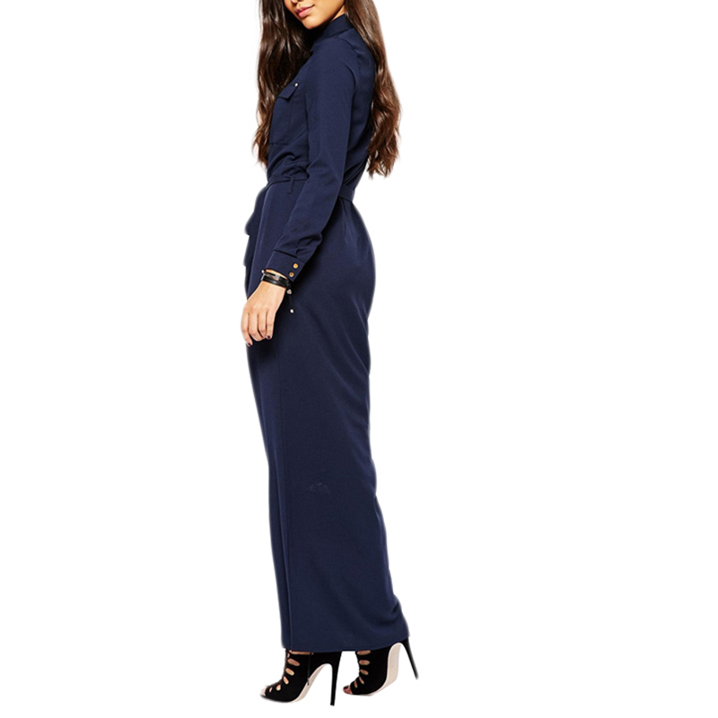 HDY Haoduoyi New Fashion Women Clothing Autumn Drawstring Vintage Solid Navy Shirts Single Breasted Casual Slim Maxi Dress in Dresses from Women 39 s Clothing