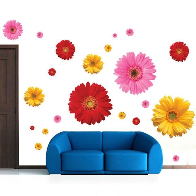 6 designs creative daisy sakura flowers pot wall stickers home