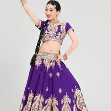 India Sarees Woman Beautiful Dance Costume India Pakistan Style Performance Sets Top+skirt+scarf