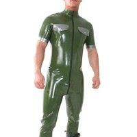 Latex Uniform Suit Latex Army Green Catsuit Front Zip Men's Zentai Wear