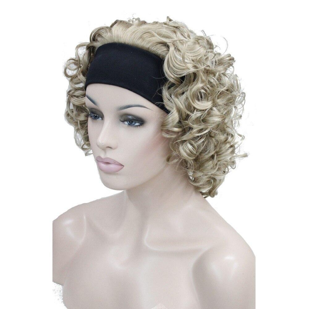 StrongBeauty Womens Medium Length Curly Hair 3/4 Wigs Black/Blonde Womens Headband Wig