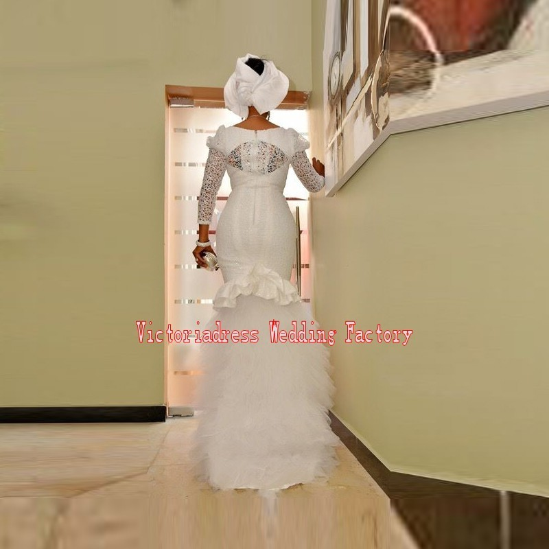 New-Arrival-Africa-Nigeria-Dress-Three-Quarter-Sleeve-Mermaid-Floor-Length-Long-Evening-Dress-White-Lace (1)_conew1