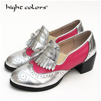 hight colors Oxford Shoes for Women 2019 British Style Flats Brogues Leather Shoes Woman Handmade Fringe Oxfords Women Shoes F63