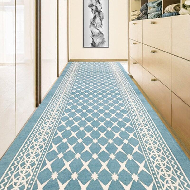 Tapis longs faits sur commande de couloir tapis européen d'hôtel de mariage tapis de coureur de zone de cuisine tapis géométriques antidérapants de porte de plancher maison