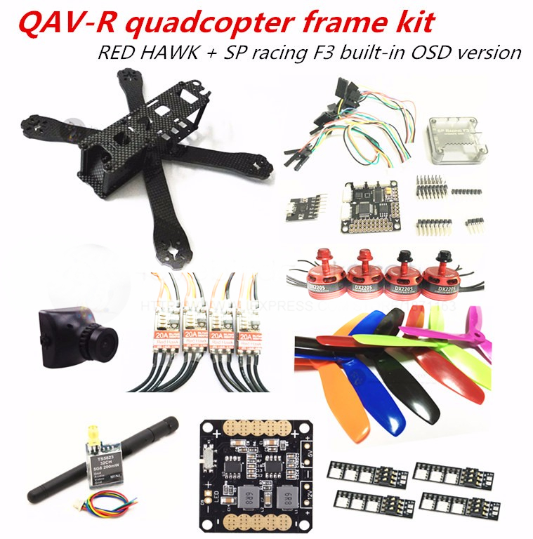 DIY mini drone RED HAWK QAV-R pure carbon 4x2x2 frame kit DX2205 + BL20A ESC OPTO + SP racing F3 with OSD + FPV camera new qav r 220 frame quadcopter pure carbon frame 4 2 2mm d2204 2300kv cc3d naze32 rev6 emax bl12a esc for diy fpv mini drone