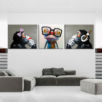 Decorative Art Handmade Monkey Oil Painting On Canvas Living Room Home Decor Wall Paintings Animal Pictures