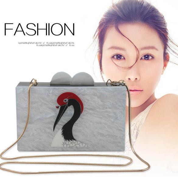 ФОТО 2016 good quality fashion vintage bird acrylic snake bone chain shoulder bag handbag women's messenger bags clutch evening bags