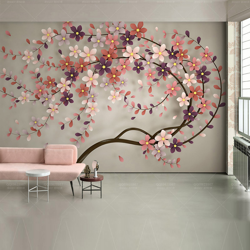 Us 16 41 46 Off Hotel Home Decor Wall Papers 3d Wall Art Flowers Tree Painting Photo Wall Paper Mural Bedroom Self Adhesive Vinyl Silk Wallpaper In