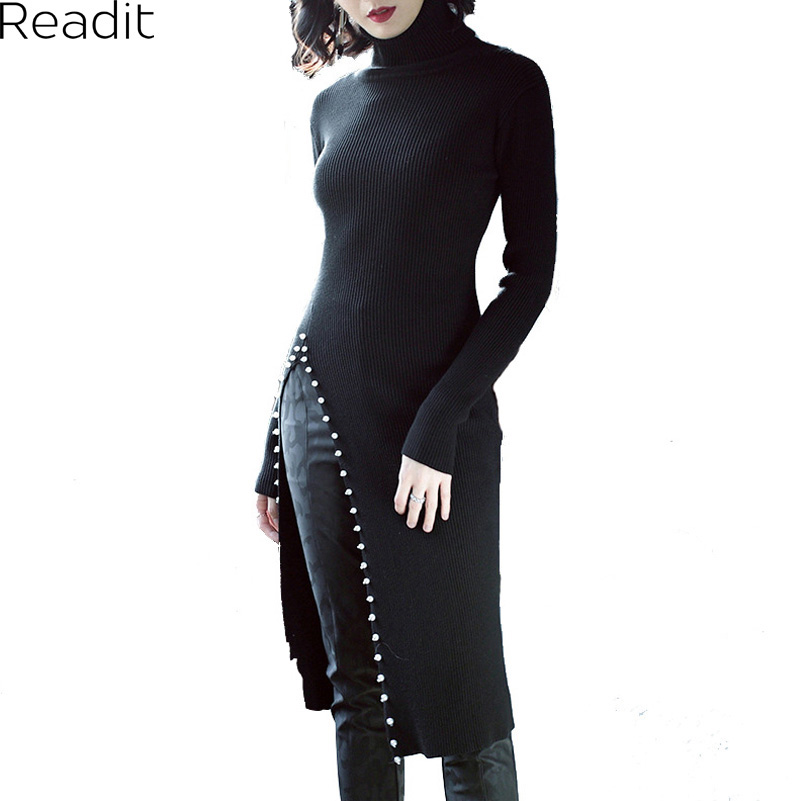 Readit Knitted Dress 2017 Autumn Winter Side Split With Faux Pearl Beading Long Sleeve Elegant Slim Dress Vestidos D2745 spring autumn woman dress faux pearl rhinestone beading sleeve cuff knitted dress fashion vintage elastic black red party dress