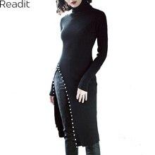 Readit вязаное платье 2017 осень-зима сбоку Разделение с искусственным жемчугом Бисер длинным рукавом Элегантный тонкий платье vestidos d2745