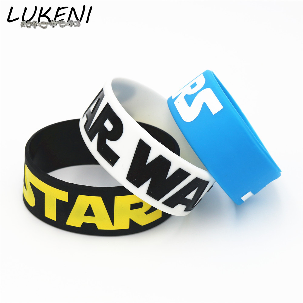 LUKENI 1PC Wide Band Star Wars Silicone Wristband Bracelet 3 Colours Available for Game Fans Bracelets&Bangles Gift SH118