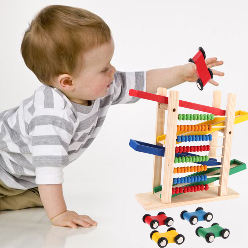 Creative Children Slippery Car Wooden Toy Kids Educational Toys Gift Abacus Building Blocks Toy with 4 Cars baby toys wooden geometric blocks kids balancing game toy children learning educational toys for children family game gift toys