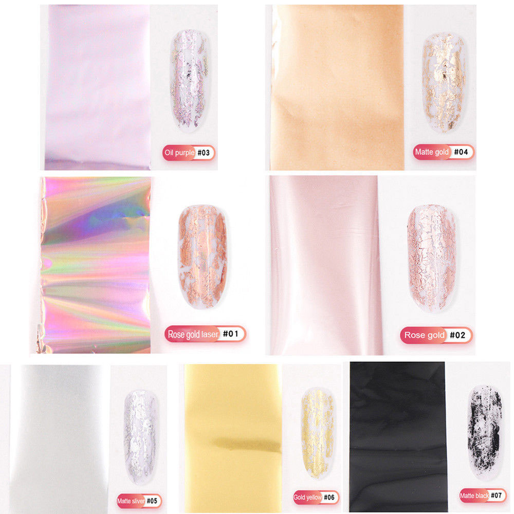 Women Shiny Nail Foil Gold Silver Laser Manicure Nail Art Transfer Sticker Tips Nail Art Tools Accessories Dropship Hot Sale