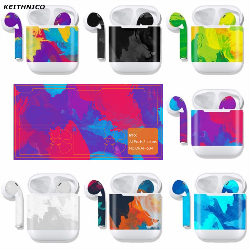KEITHNICO 1PC Protective Film Waterproof Decal Camo Designs Wrap Custom Decal Vinyl Sticker For Apple Airpods Skin tipi tent kinderkamer