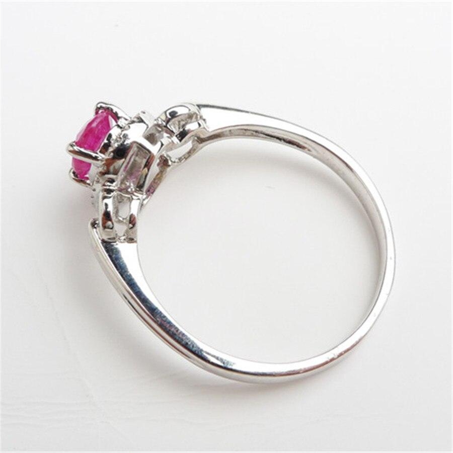 Bagues en cristal translucide de pierre gemme rouge naturelle pour les femmes 925 bague de fiançailles de mariage en argent Sterling taille 8 - 5