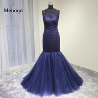 Elegant Navy Blue Beading Long Mermaid Prom Dresses 2016 Formal Tulle Sexy Cheap Evening Gowns Party