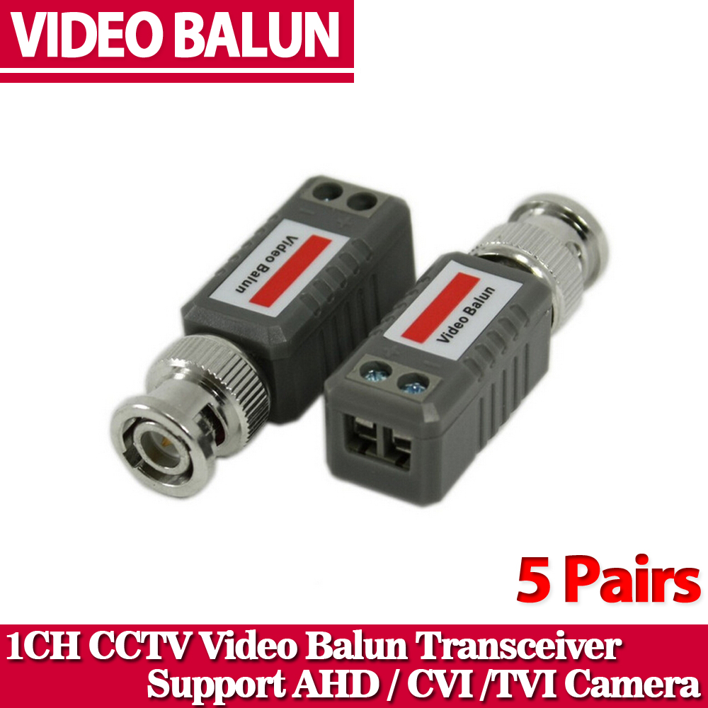 CCTV Twisted BNC 1Channel Passive TVI CVI AHD Video Balun Transceiver 10Pcs /Lot COAX CAT5 Camera UTP Cable Coaxial Adapter