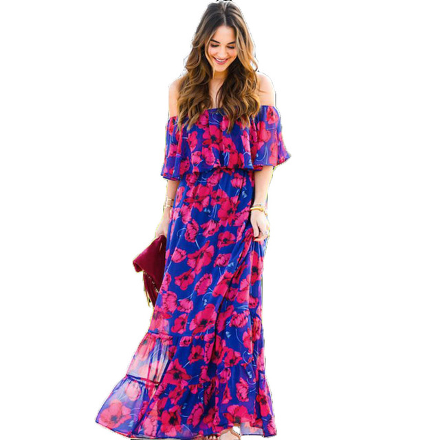 Casual Off the Shoulder Floor Length Dress