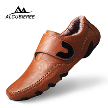 2018 Men Leather Shoes Casual Men Loafers Flats Shoes Moccasins Men #8217 s Loafers Genuine Leather Male Shoes big size mens casual cheap ALCUBIEREE Rubber 8885-1M Hook Loop Fits true to size take your normal size Basic Solid Adult Breathable Height Increasing