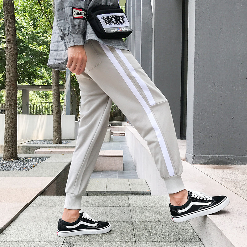 2018 Autumn Men's New Personality Fashion Loose Temperament Youth Cotton Polyester Wild Side Stripes Solid Color Casual Pants