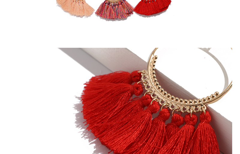AYAYOO Bohemian Handmade Tassel Earrings for Women Wedding Fashion Fringing Earrings Statement Round Long  Drop Earring (2)
