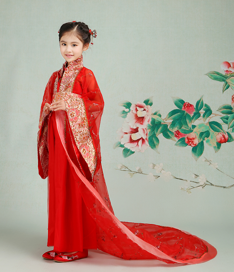2017 autumn kids' costume girls' hanfu stage clothing photography costume song of the goose gold cloth insert comb classical costume the bride hair accessory hanfu cheongsam accessories