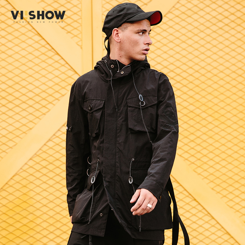 VIISHOW New Long   Trench   Coat Mens Brand Clothing Casual Fashion Long Jackets Coat Men Top Quality Hooded   Trench   Male FC1036181