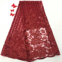 African Lace Fabric With Sequins 5 Yards/lot 2018 Hot Sequins Fabric High Quality Tulle Sequins Lace Fabric For Evening Dres