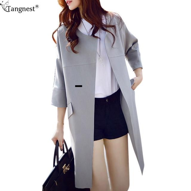 TANGNEST Long Trench 2017 New O-neck Women Cardigan Trenchcoat Korean Solid Slim Half Sleeve Long Coat Trenchcoat WWF429