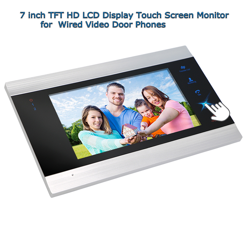 Door Intercom 7 inch Wired Video Door Phone Monitor With TFT HD LCD Display Touch Screen 800X480 Support SD card 3v3 7 inch monitor water proof ip66 wired intercom video door phone