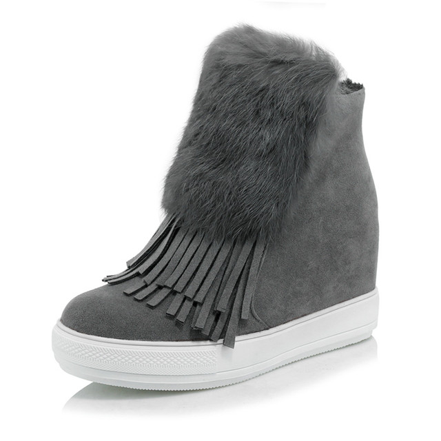 Caliente de la Felpa Botas de Nieve Nuevo 2016 de La Moda de Invierno Borla Botines Aumento de la Altura Mujeres Zapatos Mujer Botas de Plataforma más el tamaño