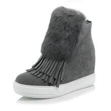 Warmen Plüsch Schneeschuhe Neue 2016 Winter Mode Quaste Stiefeletten Höhe Zunehmende Frauen Schuhe Frau Plattform Stiefel plus größe