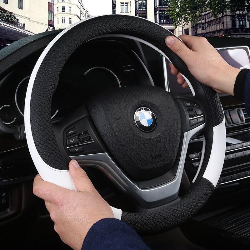Cubierta Universal del volante del coche del cuero de DERMAY cubierta del volante del coche 38 cm estilo del coche cubre el volante del coche antideslizante