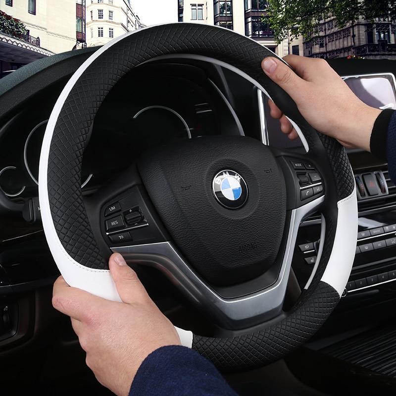 DERMAY Leder Universal Car Steering-rad Abdeckung 38 CM Auto-styling Sport Auto Lenkrad Abdeckungen Anti-Slip