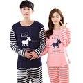 Otoño Invierno de Algodón Pijama de Rayas Pareja Pajamas Set Pijama Masculino de Los Hombres Ropa de Dormir de Las Mujeres Pijamas Hombres Ropa de Chica de Color Rosa