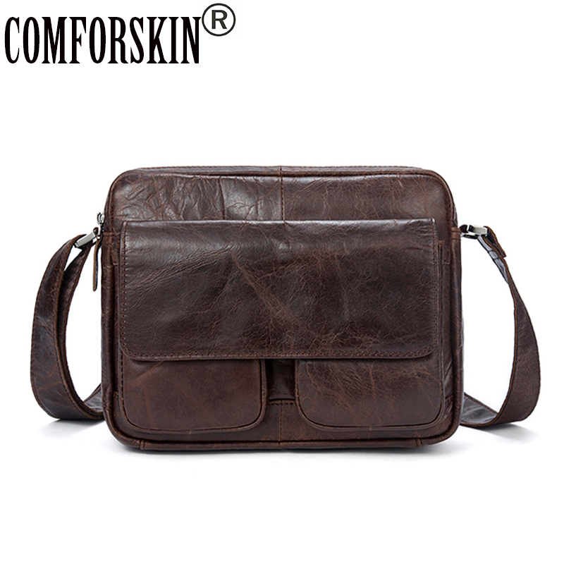 COMFROSKIN Men Leather Cross-body Bag Large Capacity 100% Genuine Leather Men Messenger Bags New Arrivals Cover Style Man Bags pamaskin 2018 new arrivals casual retro men messenger bags 100