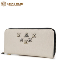DANNY BEAR Vintage White Pu Leather Long Fashion Women Wallets Designer Brand Clutch Purse Lady Party