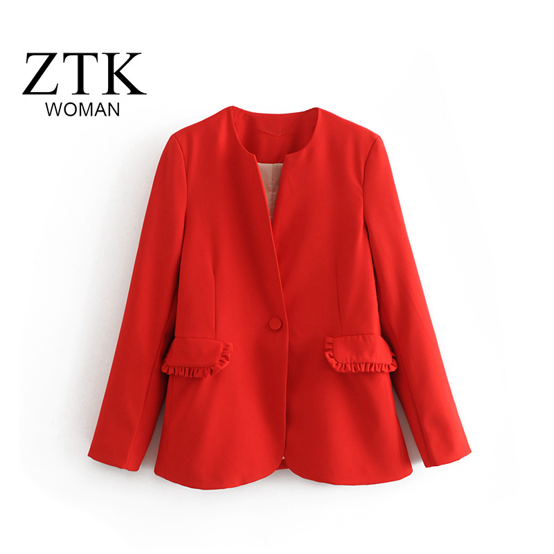 2018 New Womens Business red Suits Spring Autumn vintage women Blazers Jackets Short Slim long sleeve Blazer Women Suit red tops